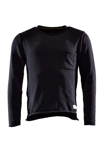 Sweat one, Flat knitted sweater, Caviar black, S