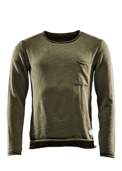 Sweat one, Flat knitted sweater, Burnt olive green, S