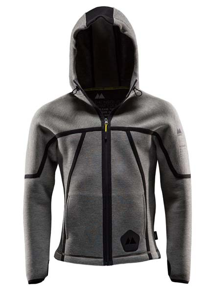 Monitor Hood one, Hood full zip, Grey melange